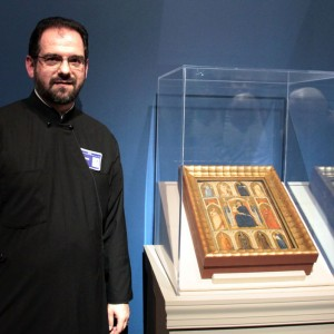 "Rev. Dr. Stefanos Alexopoulos with ""Madonna and Child with Annunciation and Female Saints"" by Puccio Capanna"