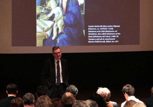 "Dr. Ian Boxall with ""Madonna and Child"" Sandro Botticelli"